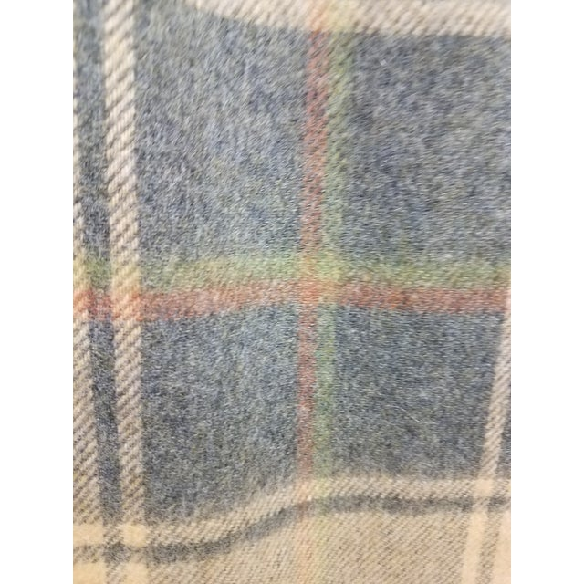 Merino Wool Throw Light Soft Beige Grey Green Red Plaid - Made in England For Sale - Image 9 of 13