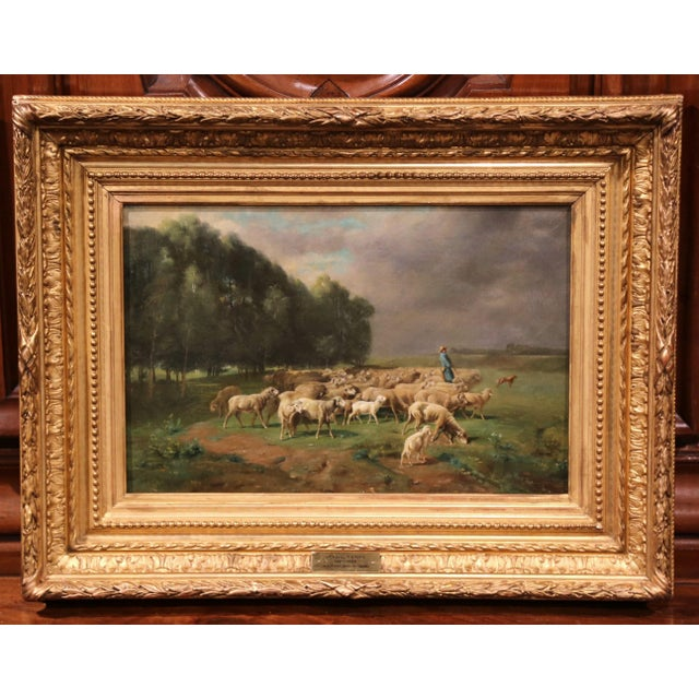 19th Century French Sheep Painting In Gilt Frame Signed Charles