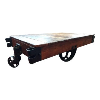 1900s Industrial Factory Truck Cart Coffee Table (Originally Made to Be Put to Use at the Chas. E. Francis Co. Rushville, Ind.) For Sale