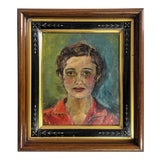 Image of Vintage Oil Painting, Portrait of Women With Antique Victorian Frame For Sale
