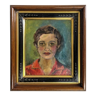 Vintage Oil Painting, Portrait of Women With Antique Victorian Frame