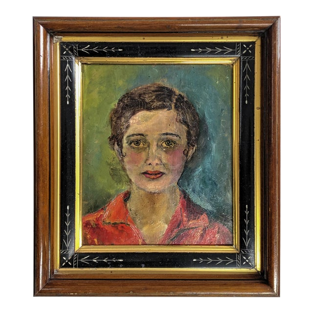 Vintage Oil Painting, Portrait of Women With Antique Victorian Frame For Sale
