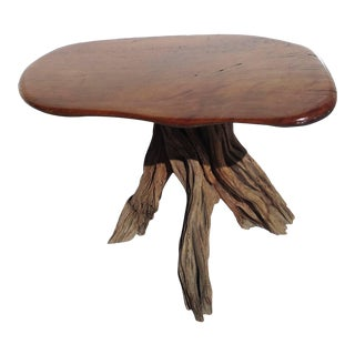 Free-Form Burled Wood Side Table For Sale