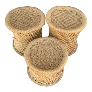 Staggering Height Wicker Stools - Set of 3 For Sale