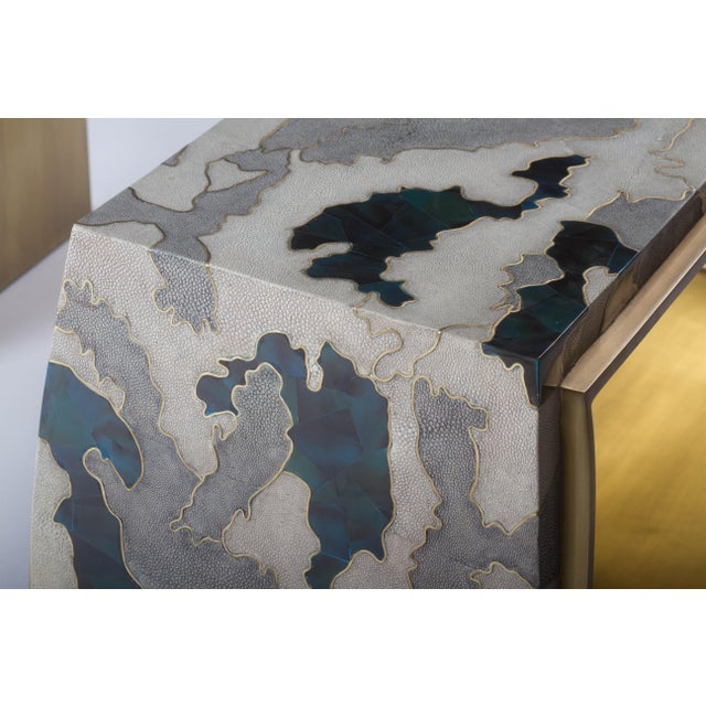 Early 21st Century Camouflage-Pattern Inlaid Stool / Mini Bench in Shagreen & Shell by R&y Augousti For Sale - Image 5 of 12