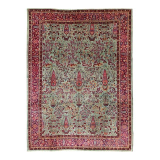 Antique Agra Rug in Mint Green, Purple and Burgundy For Sale