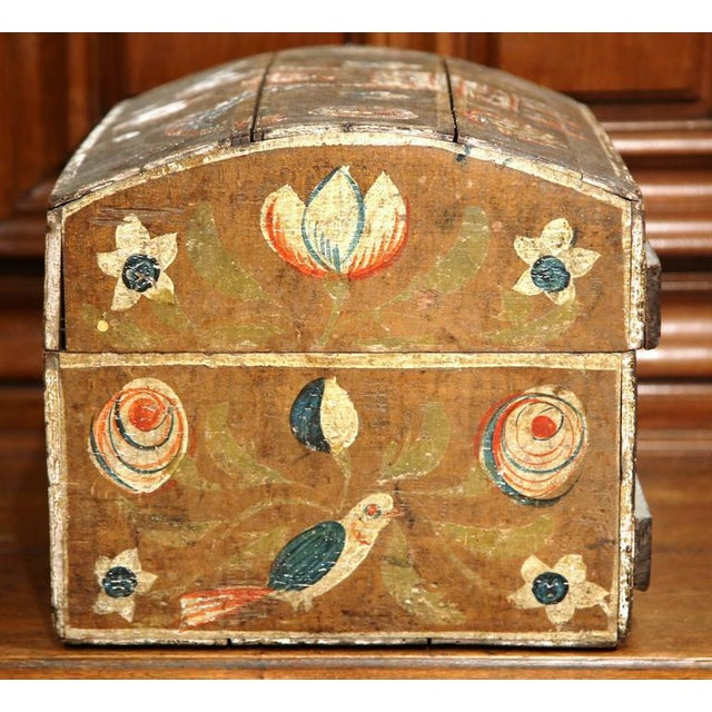 18th Century French Painted Bird Motif Trunk - Image 6 of 8