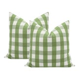 """Image of 22"""" Clover Charleston Check Pillows - a Pair For Sale"""