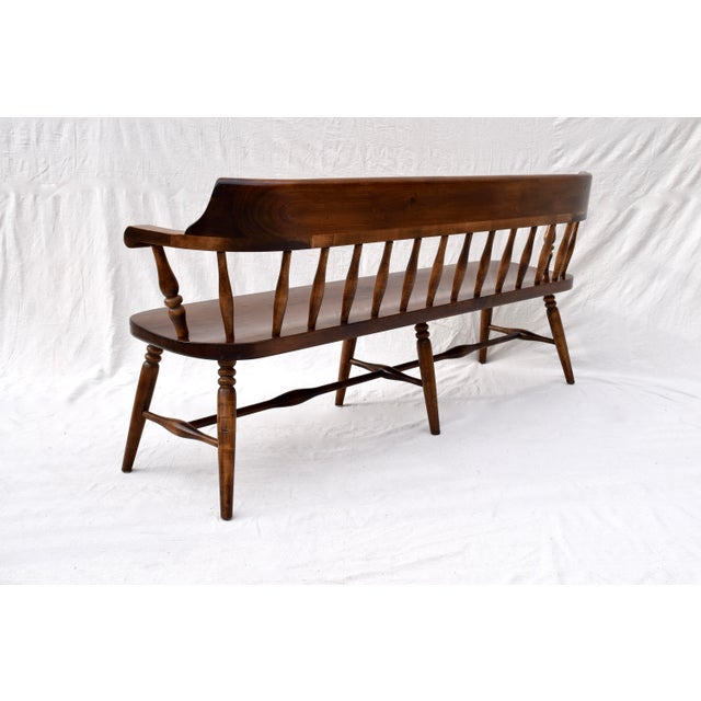 Farmhouse Farmhouse Pine Spindle Back Bench For Sale - Image 3 of 10