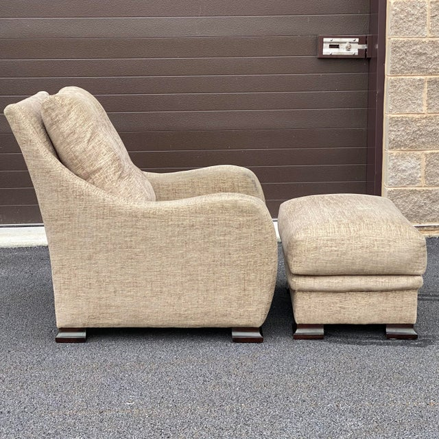 """A wonderfully designed chair and ottoman set by RJones & Associates Inc. Chair 33""""w 40""""d 36""""h 17.5"""" seat height 22"""" seat..."""