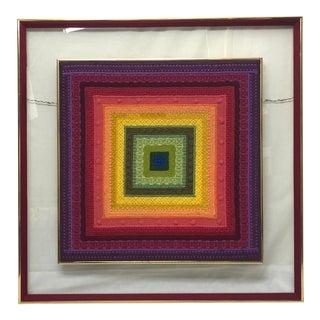 1950s Vintage Framed Hooked Rug Textile Fragment For Sale
