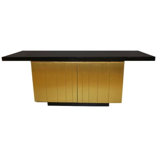 1970 Frigerio Vintage Italian Black & Gold Copper Freestanding Sideboard/Console For Sale