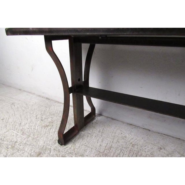 Industrial Modern Iron Bench For Sale - Image 5 of 6