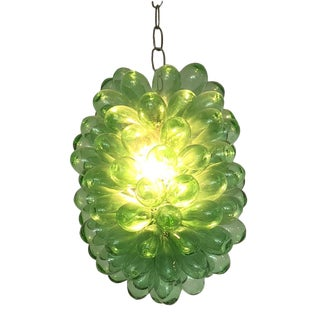 Recycled Hand-Blown Green Glass Light Fixture For Sale