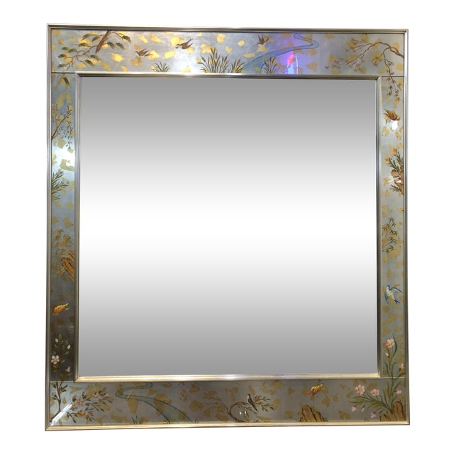 Labarge Chinoiserie Wall Reverse Painted Mirror For Sale