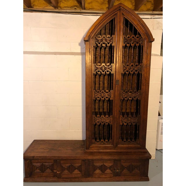 Magnificent Hand Carved Mahogany Gothic Style Bookshelf Cabinet For Sale - Image 4 of 11