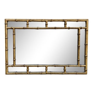 Vintage Gold Faux Bamboo Mirror For Sale