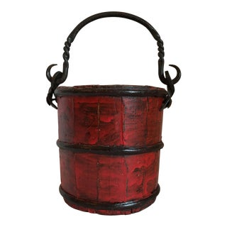 Red Lacquer Wood Bucket For Sale