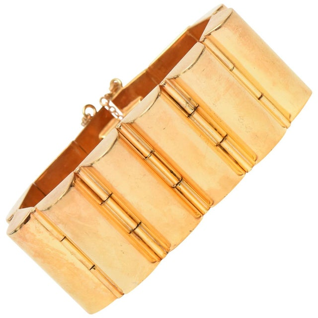 Art Deco Modernist Style Gold Plated Channeled Cuff Bracelet For Sale - Image 10 of 10