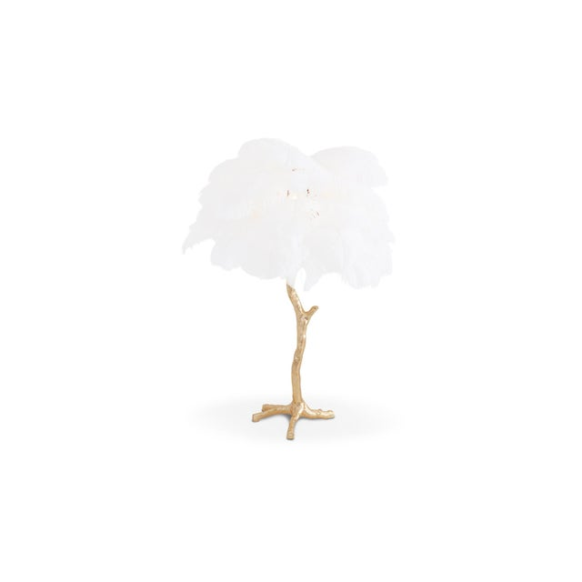 Contemporary Gold Palm Tree Lamp With White Feathers For Sale - Image 3 of 9