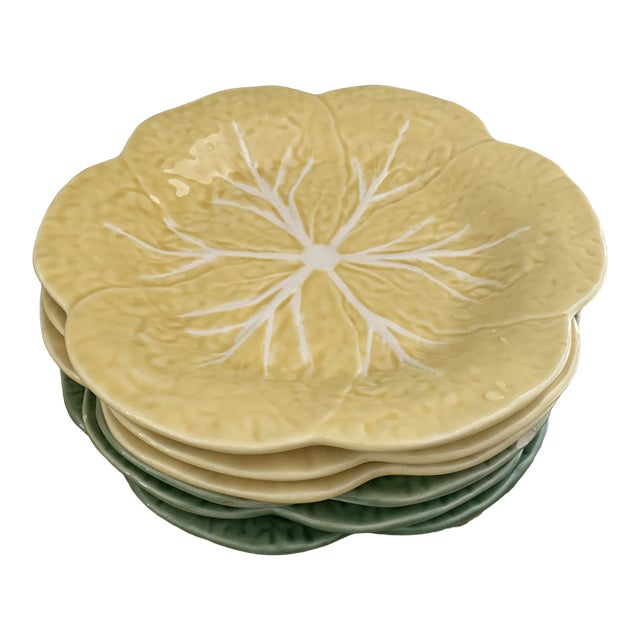 Bordallo Pinheiro Yellow and Green Ceramic Cabbage Plates - Set of 6 For Sale
