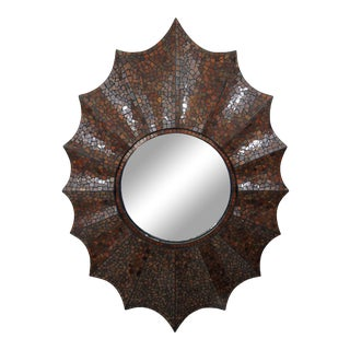 'Starburst' Howard Elliot Mosaic Slag Glass Wall Mirror For Sale