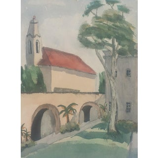 Vintage Watercolor of a Mission Courtyard by Jenkins For Sale