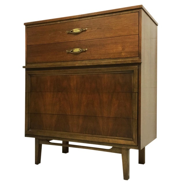 Mid-Century Modern Dresser Tallboy in Walnut - Image 1 of 6