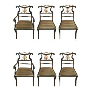 Set of Six Neoclassical Style Ebonized and Brass Mounted Dining Chairs Jansen For Sale