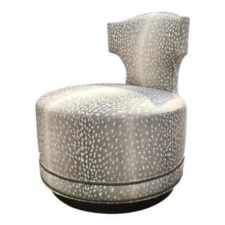 Pearson Modern Gray and White Leopard Print Clara Swivel Slipper Chair For Sale