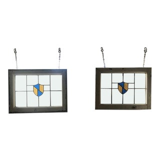 1920s Antique Hanging Stained Glass Windows- A Pair For Sale