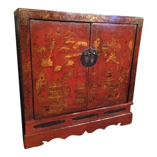 Chinese Export Red Lacquer Credenza For Sale