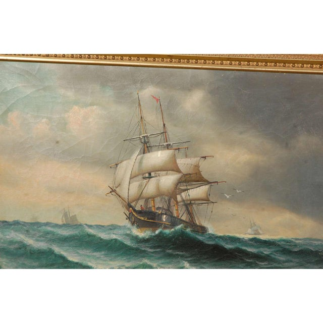 19th Century Signed American Oil Painting of a Ship at Sea For Sale - Image 4 of 10
