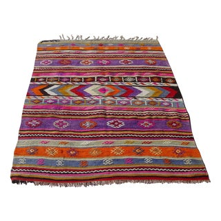"Vintage Turkish Purple Kilim Rug - 3'9"" x 5'1"""