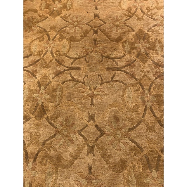 White Neutral Luxurious Silk Tibetan Area Rug- 6′2″ × 8′11″ For Sale - Image 8 of 10