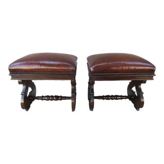 19th Century Pair of Italian Walnut Embossed Leather Benches For Sale