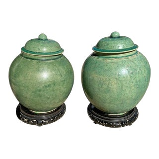 Chinese Green Glazed Vessel Jars with Original Lids - a Pair For Sale