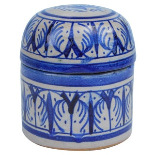 Blue Moroccan Lidded Jar For Sale