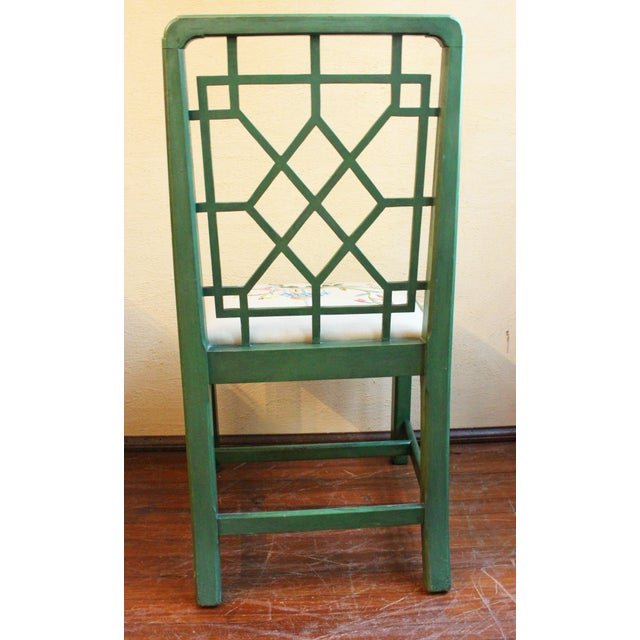 Chinese Chippendale Style Painted Chairs- A Pair For Sale - Image 4 of 8