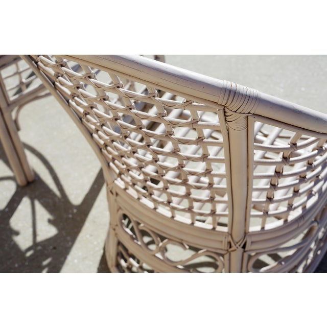 Wood Vintage Rattan Club Chairs and Side Table - Set of 3 For Sale - Image 7 of 10