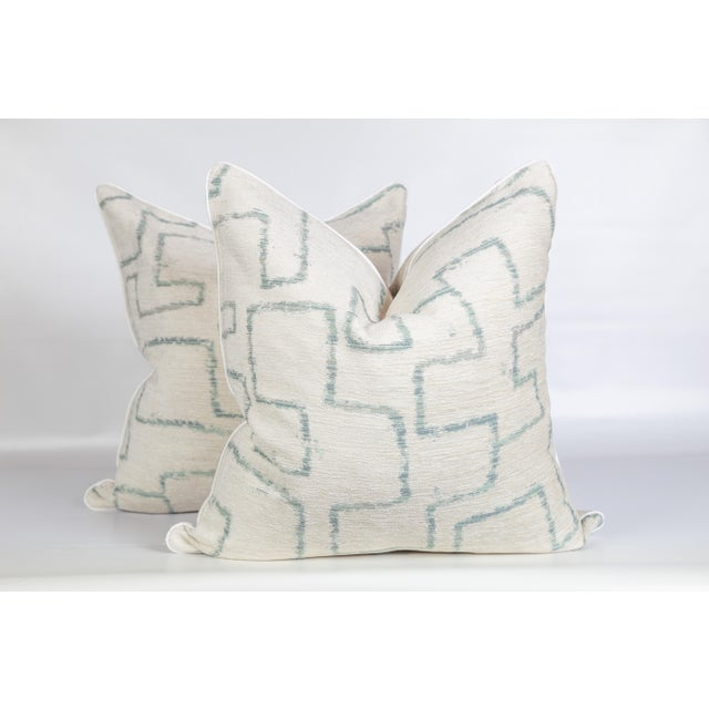 Ivory Chenille Sea Foam Tribal Geometric Pillows, a Pair For Sale - Image 4 of 6