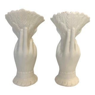 Antique French Victorian White Parian Porcelain Hand Vases - A Pair For Sale