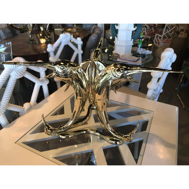 Beautiful, unique Marlin Fish Coffee Cocktail Table. Professionally polished brass. Glass top not included. Great...