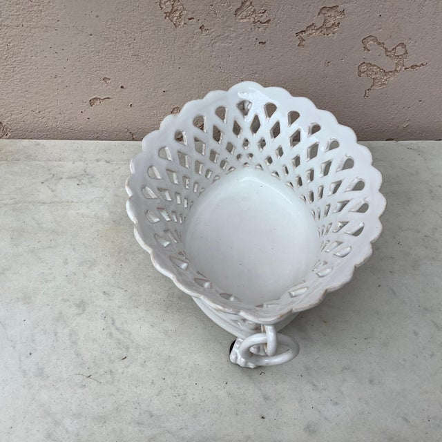 French White Reticulated Basket Emile Tessier, circa 1920 For Sale - Image 4 of 9