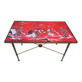 Hollywood Regency Red Tile Table For Sale