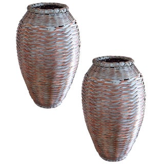 Pair of 30 Inch High Japanese Baskets For Sale