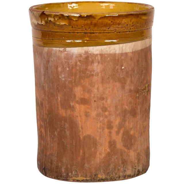 Cylindrical Pot With Yellow-Banded Glazed Detail For Sale