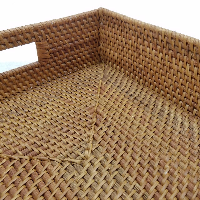 Nautical Natural Rattan Tray For Sale - Image 3 of 6