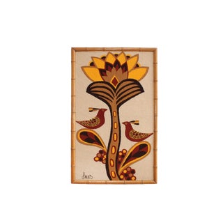 Luis Montiel Woven Rug Tapestry- 70s Botanical Textile Art