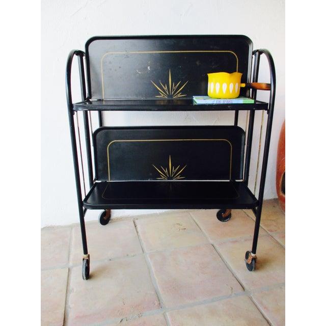 Black Vintage Rolling Folding Bar Cart Image 4 Of 10